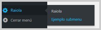 sub menu ejemplo
