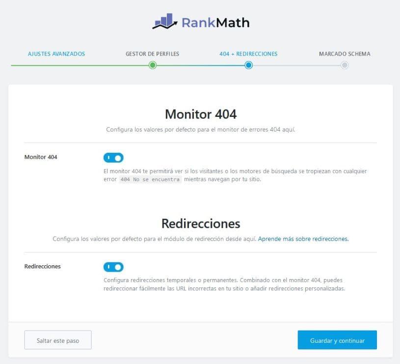 404 redirecciones rankmath