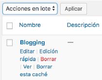 Eliminar categorías de WordPress