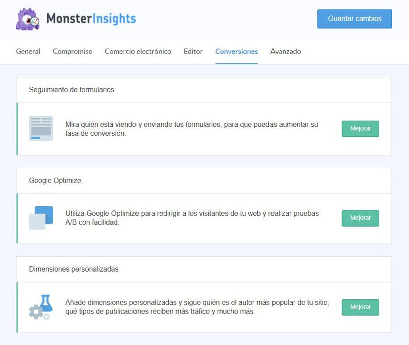 monsterinsights-conversiones