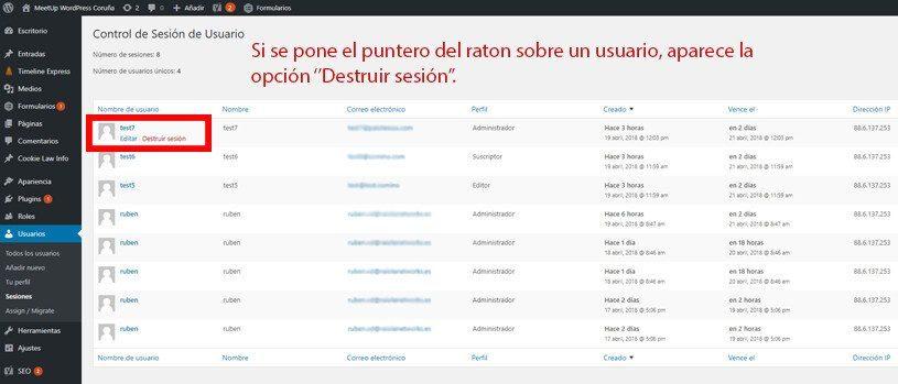 Control de sesiones de usuario