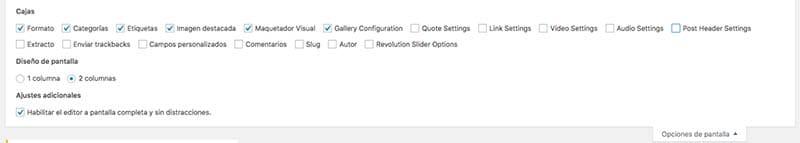 opciones de pantalla WordPress