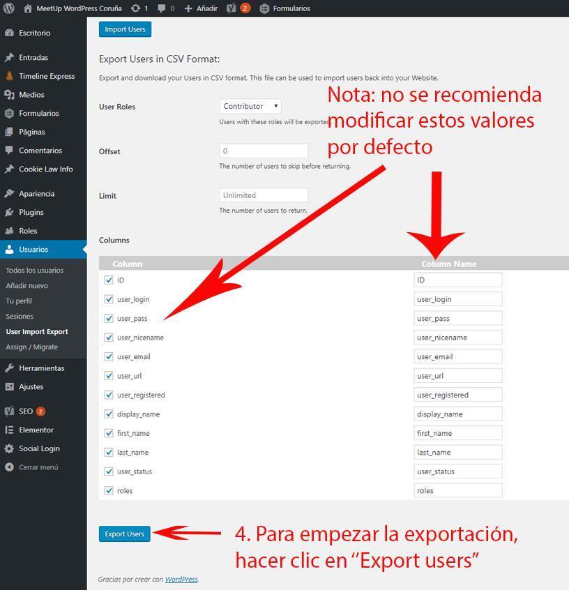 Configuracion importar exportar usuarios