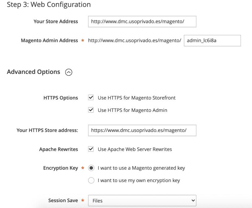 Configuración web de Magento