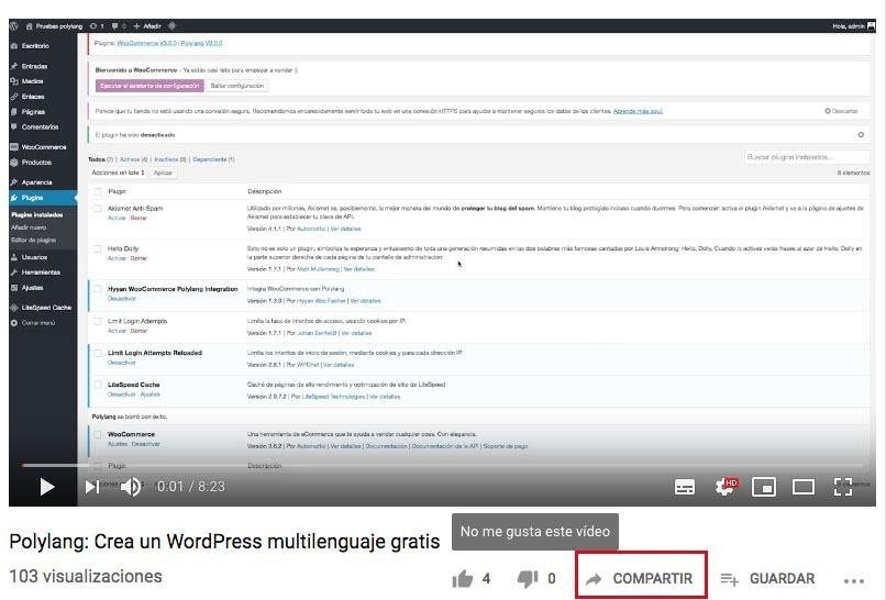 wordpress gratis compartir share