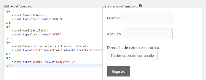 Vista previa Mailchimp for WordPress