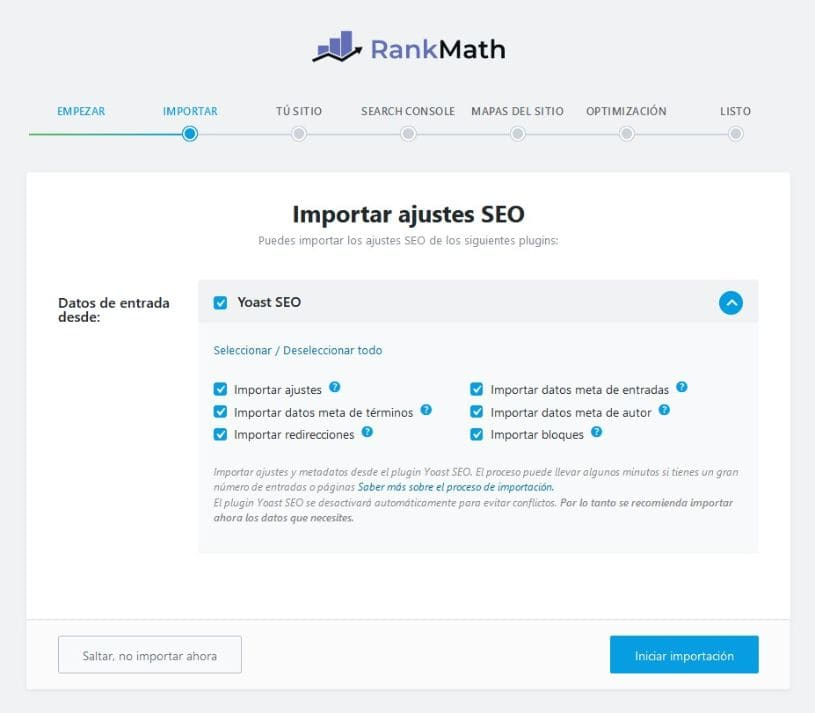 Importar datos Rank Math
