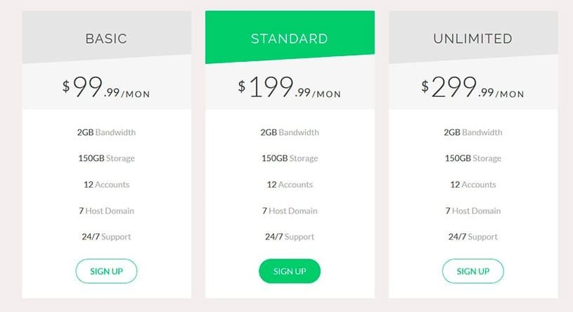 pricing tables bootstrap