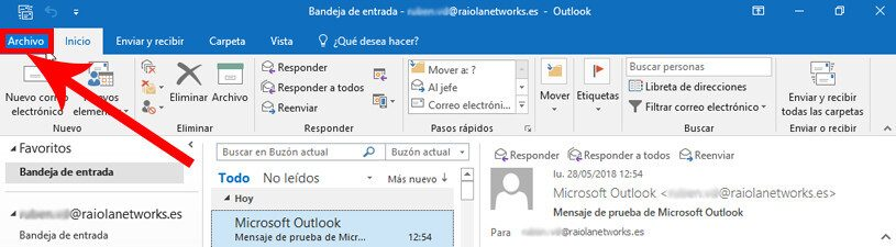 editar configurar outlook