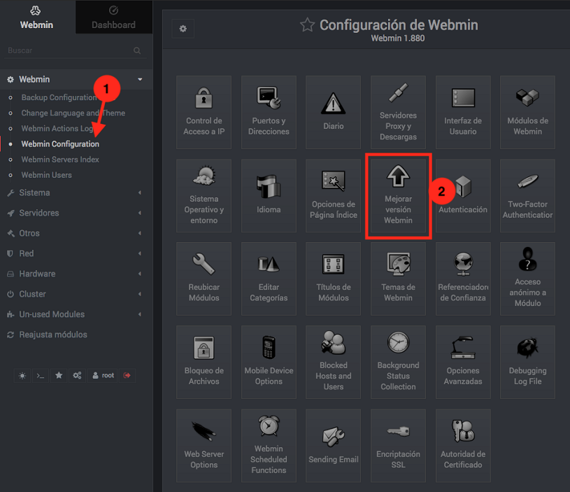 Como actualizar Webmin - Paso 1