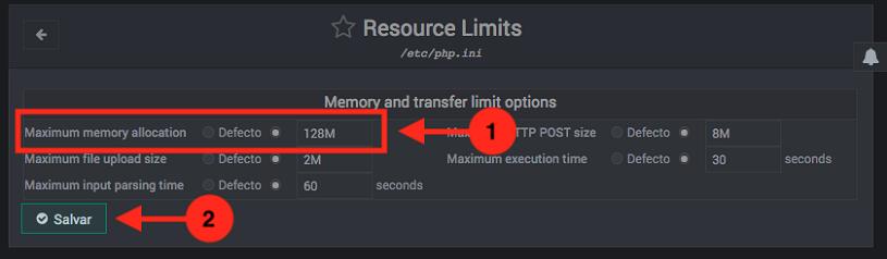 Como cambiar el memory_limit de PHP en Webmin