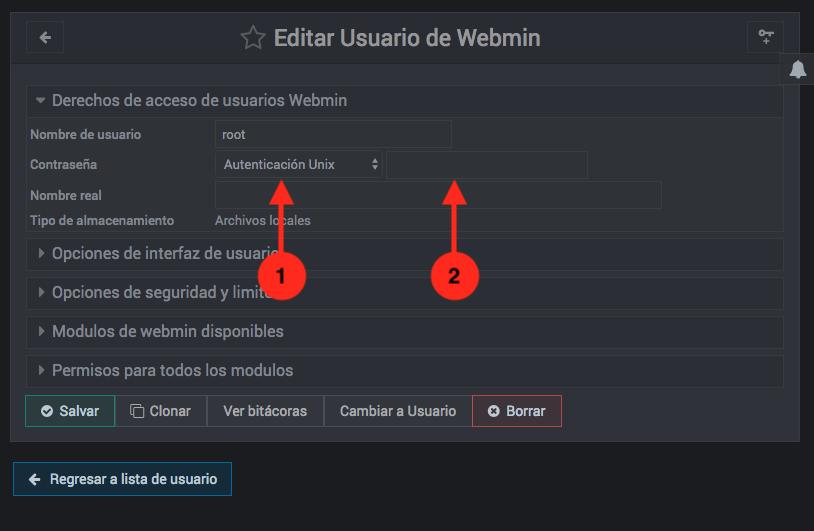 Como cambiar la contraseña de un usuario de Webmin - paso 2