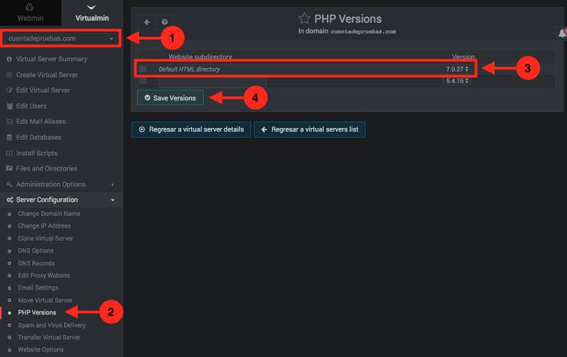 Como cambiar la version de PHP en webmin