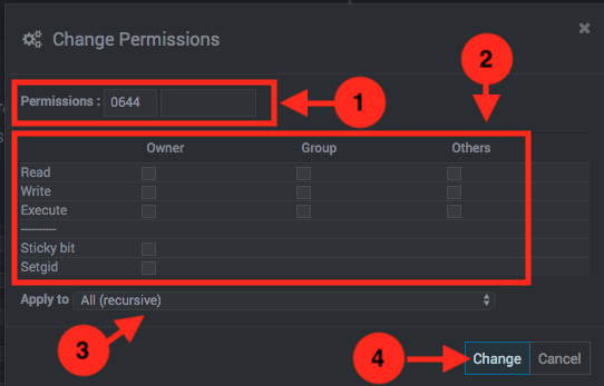 Como cambiar permisos a archivos y carpetas en Webmin - Paso 2