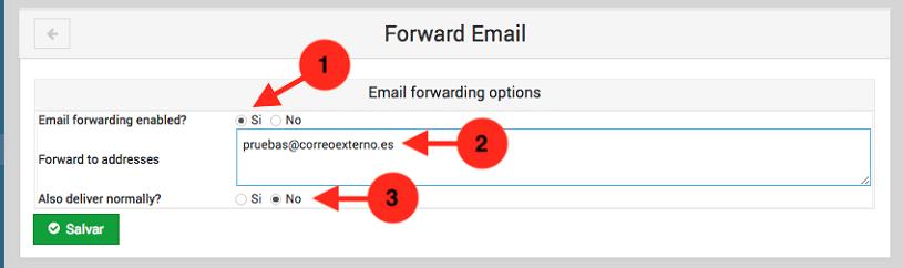 Como crear una redireccion de correo en usermin - paso 2