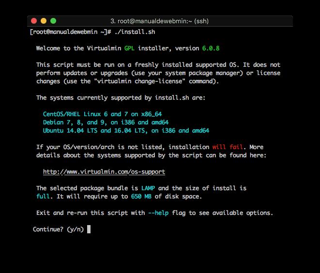 Como instalar Virtualmin - Paso 3