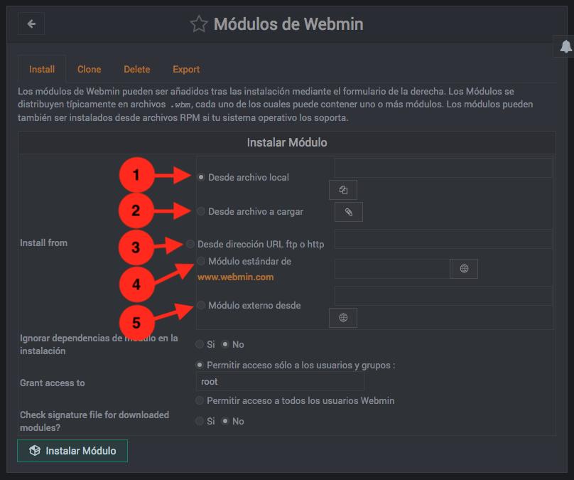 Como instalar modulos de Webmin - Paso 1