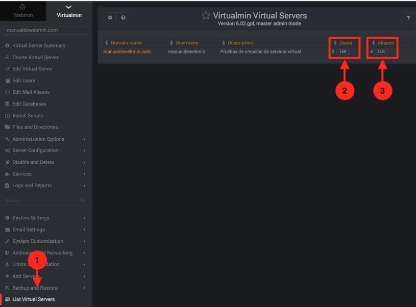 Como listar los servidores virtuales en virtualmin