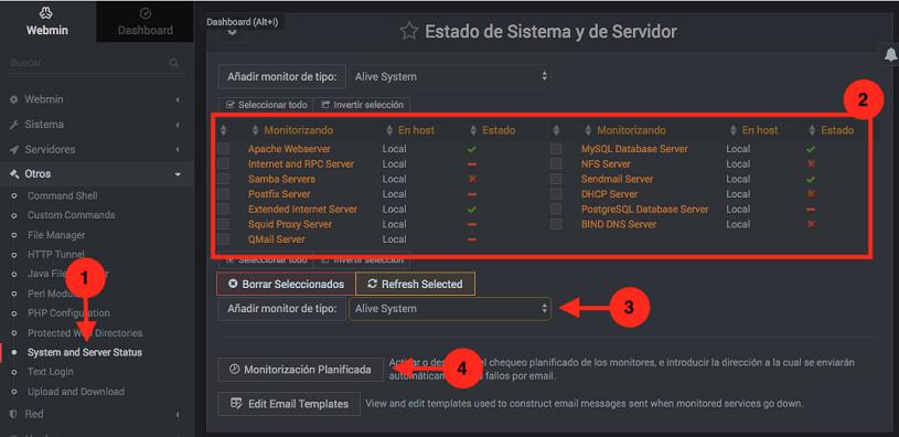 Como monitorizar los servicios de Webmin