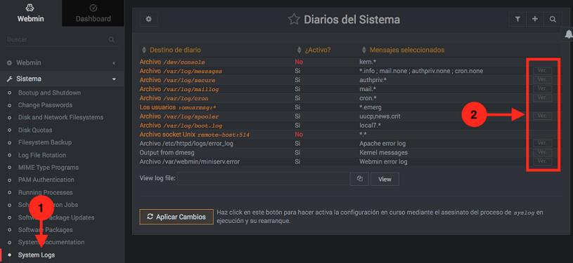 Como ver los logs del servidor en Webmin - Paso 1