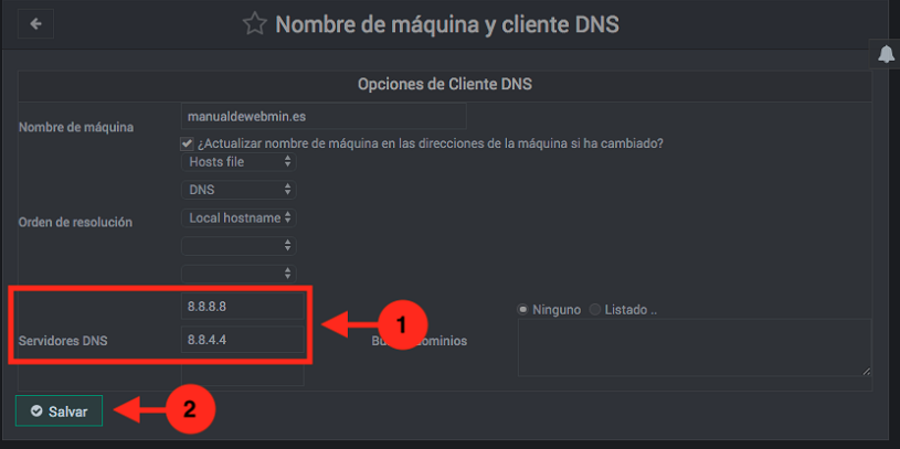 Como ver o cambiar los DNS en webmin