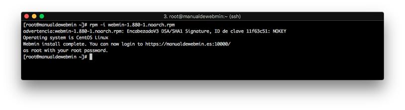 Instalar Webmin en Centos 7 - Paso 5 - Terminar instalacion