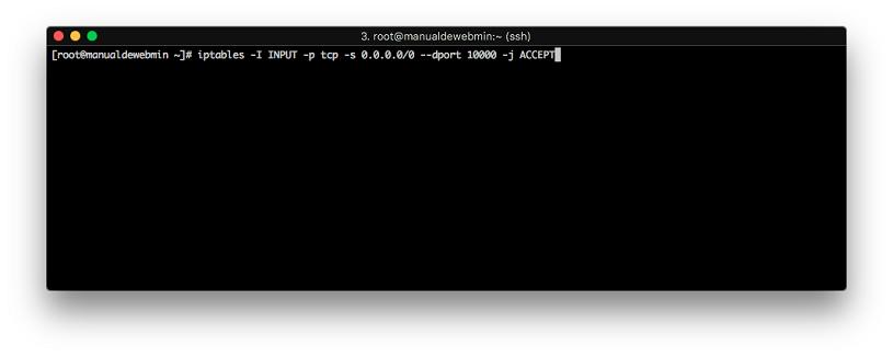 Instalar Webmin en Centos 7 - Paso 6 - Abrir puertos en el firewall