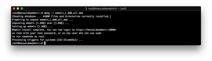 Instalar Webmin en Debian 9 stretch - Paso 6 - Terminar instalación