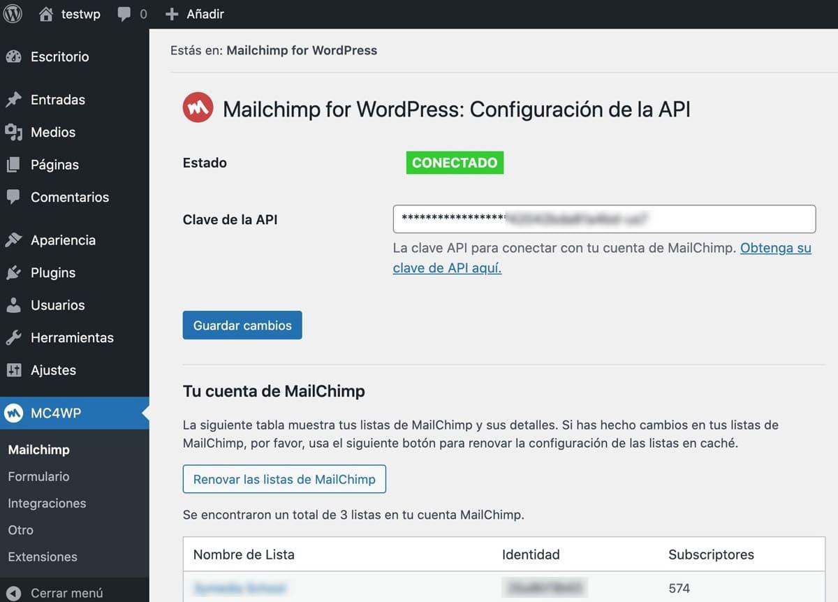Mailchimp for WordPress configuracion