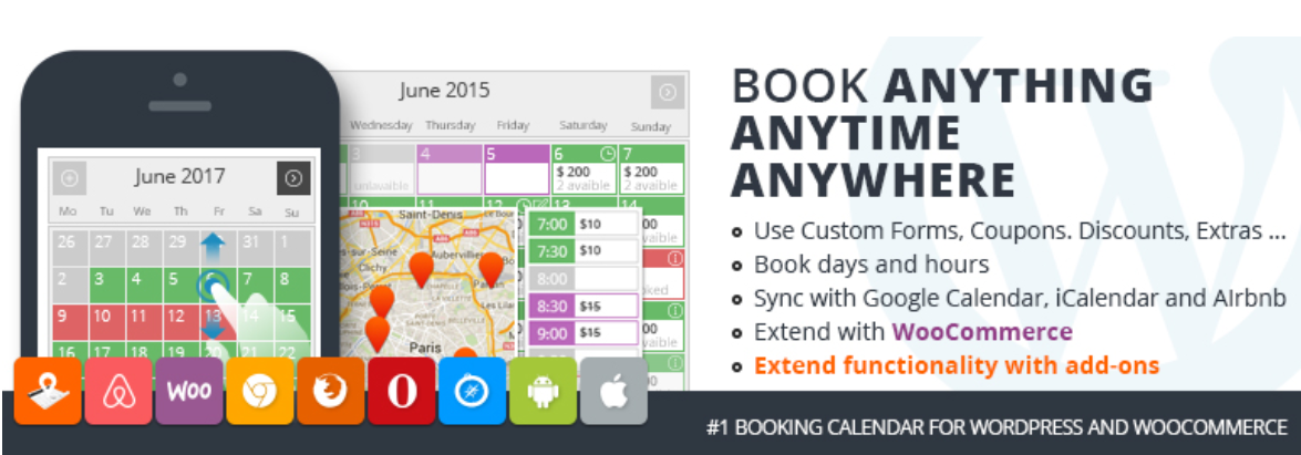 Captura de un calendario del plugin de reservas PinPoint Booking Calendar