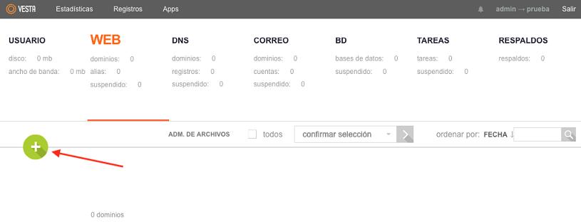 Agregar dominio en vestacp 2