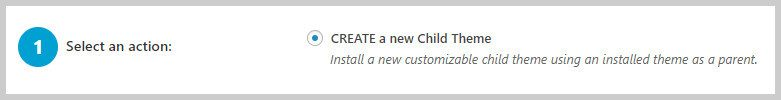 Paso 1 de Child Theme Configurator