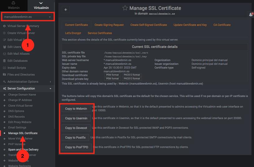 como cambiar el certificado del correo en virtualmin