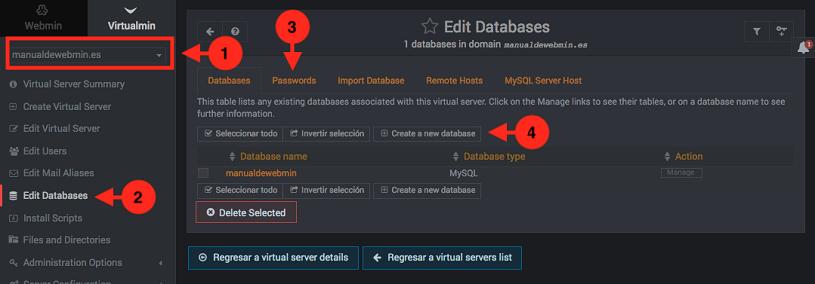 como crear bases de datos en virtualmin - paso 1