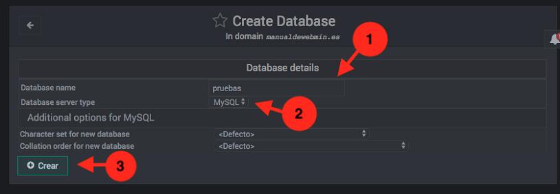 como crear bases de datos en virtualmin - paso 2