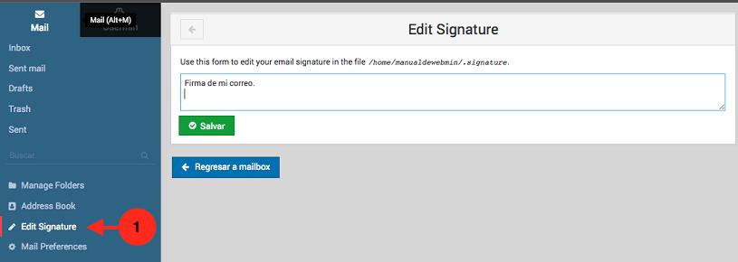 como editar la firma de correo en usermin