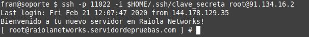 comrpobar acceso ssh