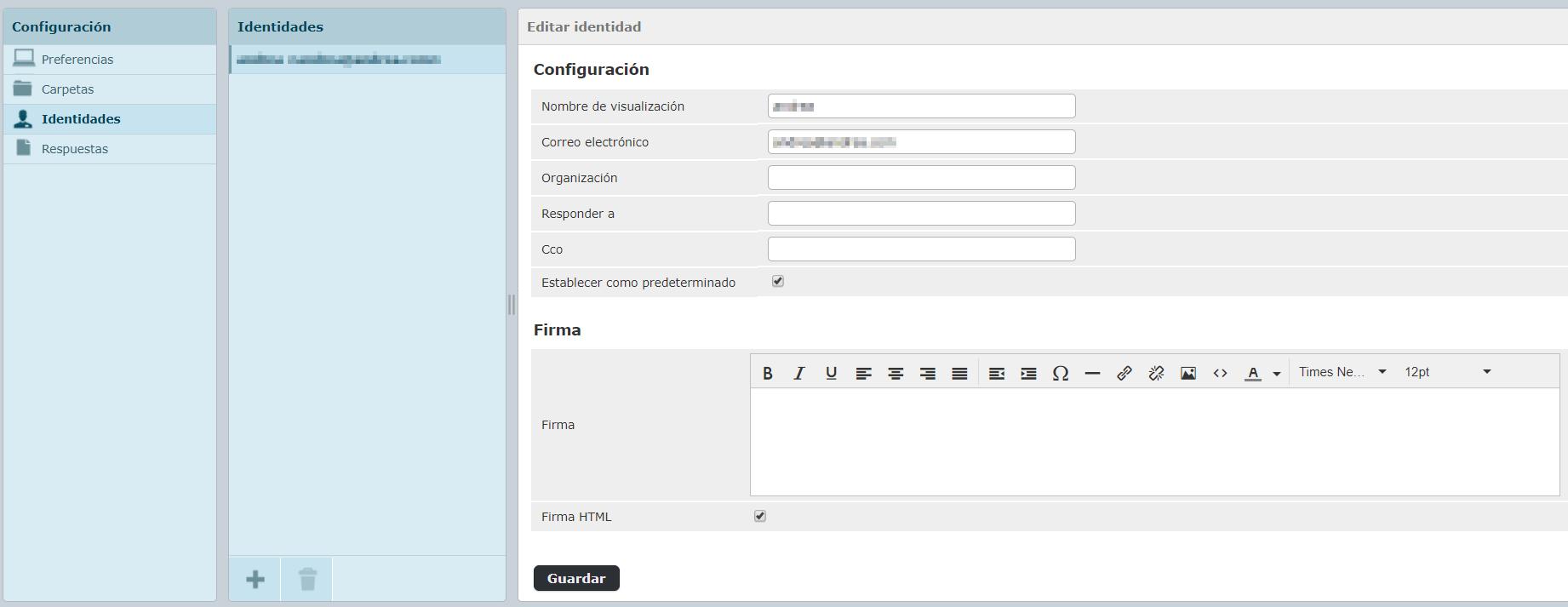 Configuración identidades firma HTML