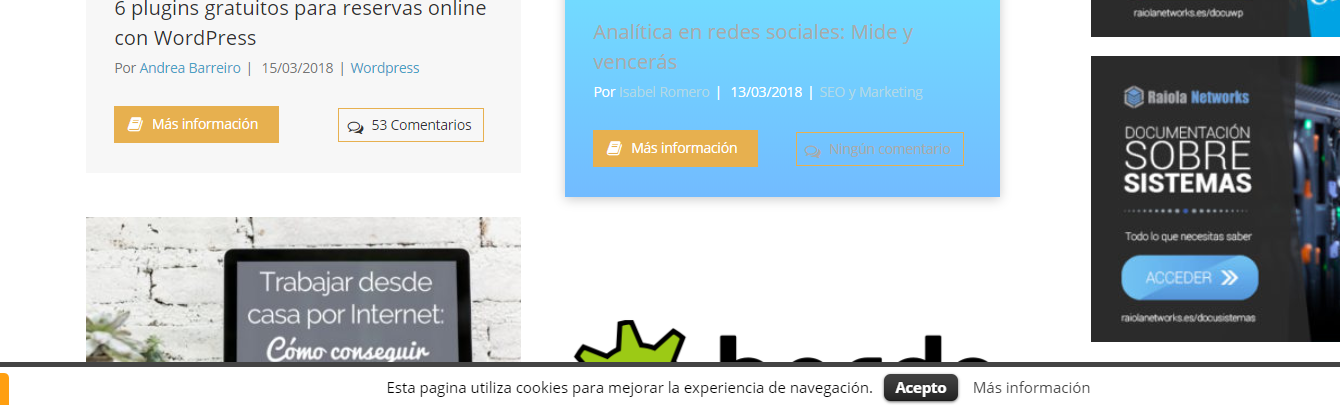 Uso del complemento para WordPress Cookie Law Info