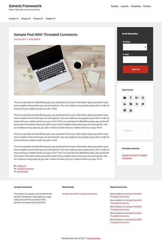 GeneratePress es un clon de Genesis Framework