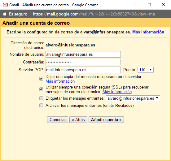 gmail email añadir