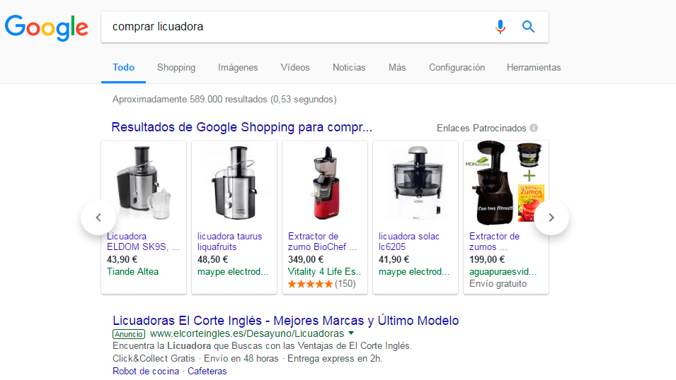 ejemplo google shopping