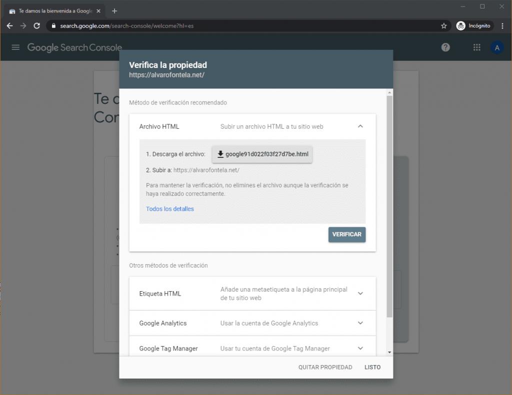 Verificar cuenta en Google Search Console