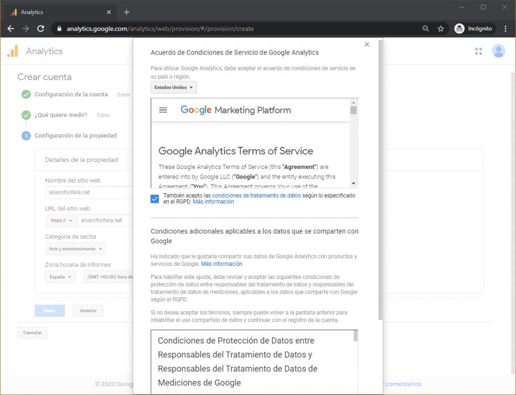 términos y condiciones google analytics