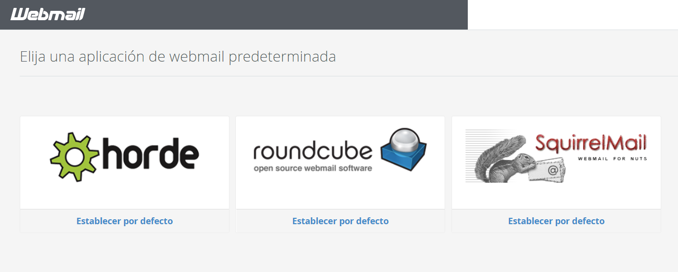 Establecer Horde webmail por defecto