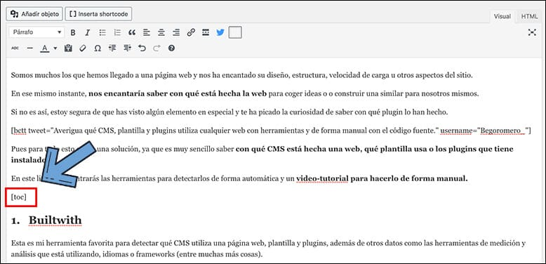 insertar toc en wordpress