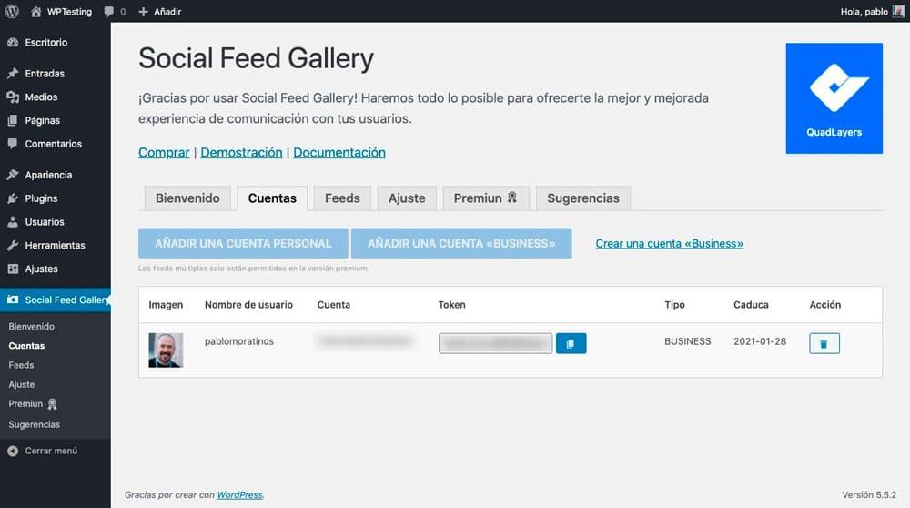 Social Feed Gallery permisos