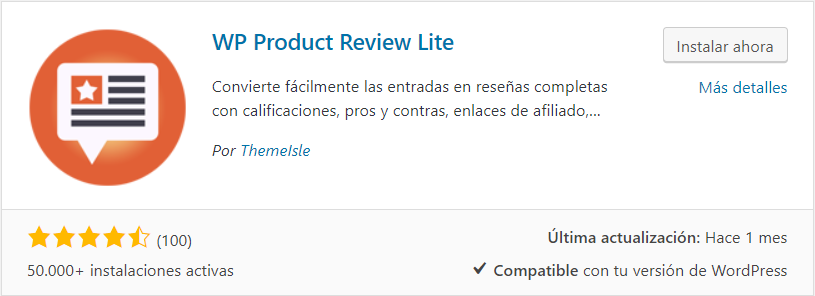 instalar WP Product Review Lite plugin testimonios wordpress