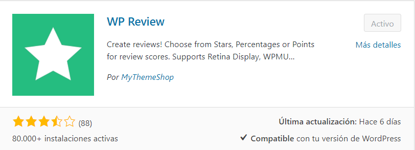 instalar WP Review plugin testimonios wordpress