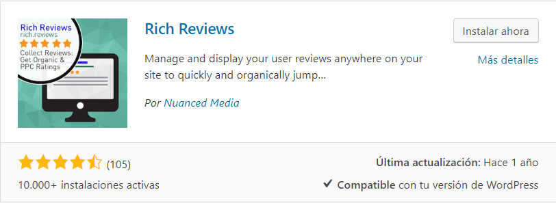instalar rich reviews plugin testimonios wordpress